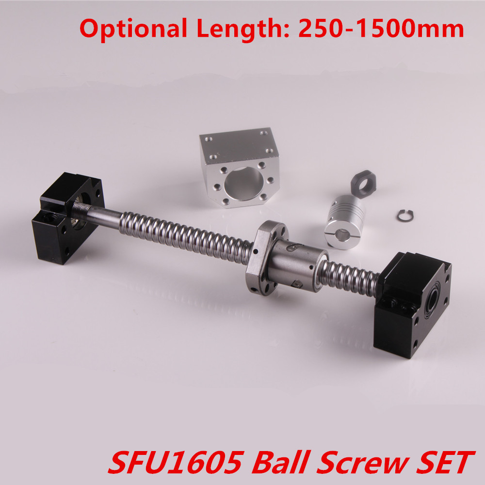 Ballscrew Set SFU1605 Rolled Ball Screw End Machined 250-1500 Mm + 1605 Nut + Nut Housing + BK/BF12 End Support + Coupler RM1605