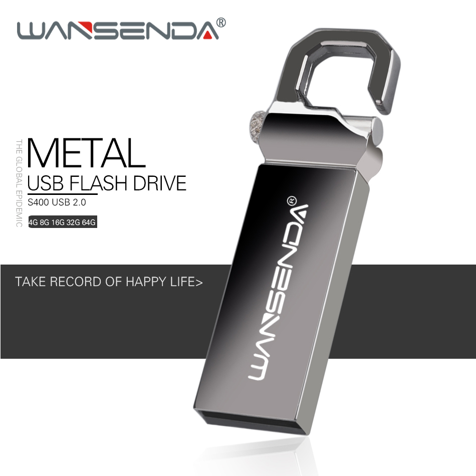 WANSENDA Key Chain USB Flash Drive Pen Drive 8GB 16GB 32GB 64GB Waterproof Pendrive USB 2.0 Memory Stick Flash Disk
