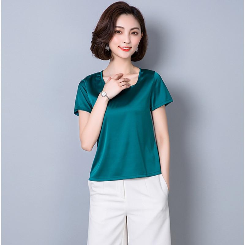 O-Neck Fashion Woman Blouses 2018 Plus Size Women Clothing Solid Satin Imitated Silk Basic Bottoming Shirts Summer Tops Femme 5