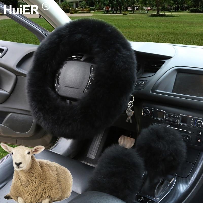 winter australian sheepskin wool steering wheel cover cahsmerehuier winter 3pcs set car steering wheel cover australian wool 7 colors warm soft braid
