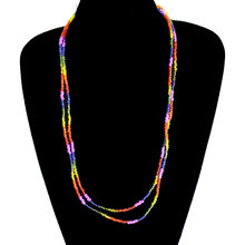 Colorful Long Chain Necklace Handmade DIY Beaded Clavicle Jewelry XL665