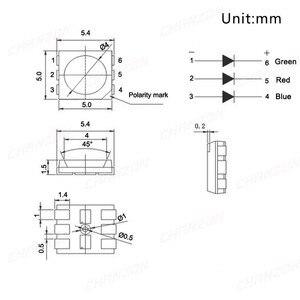 Светодиодные лампы smd5050, 100 шт., SMD 5050, RGB, трехцветные, 60 мА, постоянный ток, 2 в, красные, зеленые, синие, светодиодные лампы SMT