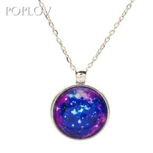 POPLOV Lucky Life Tree Gem Cabochon Pendant Women Necklaces Fashion Sweater Chain Art Glass Cabochon Necklace Vintage Jewelry