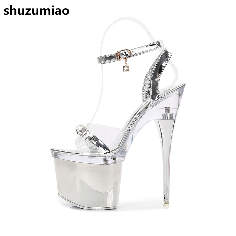 Rhinestone Sandals Wedding Shoes Women Extreme High Heels Ladies Shoes Silver Pumps Women Low Platform Sandals Summer Shoes meotina shoes women sandals rhinestone sandals luxury shoes 2018 beading summer sandals chunky low heels gold wedding shoes