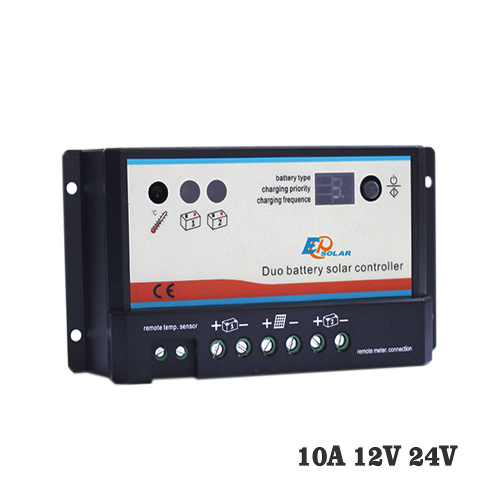 10A 12V 24V EP EPIPDB-COM Epsolar Dual Duo Two Battery Solar Charge Controller Regulators 20a 12v 24v ep epipdb com dual duo two battery solar charge controller regulators with mt 1 meter