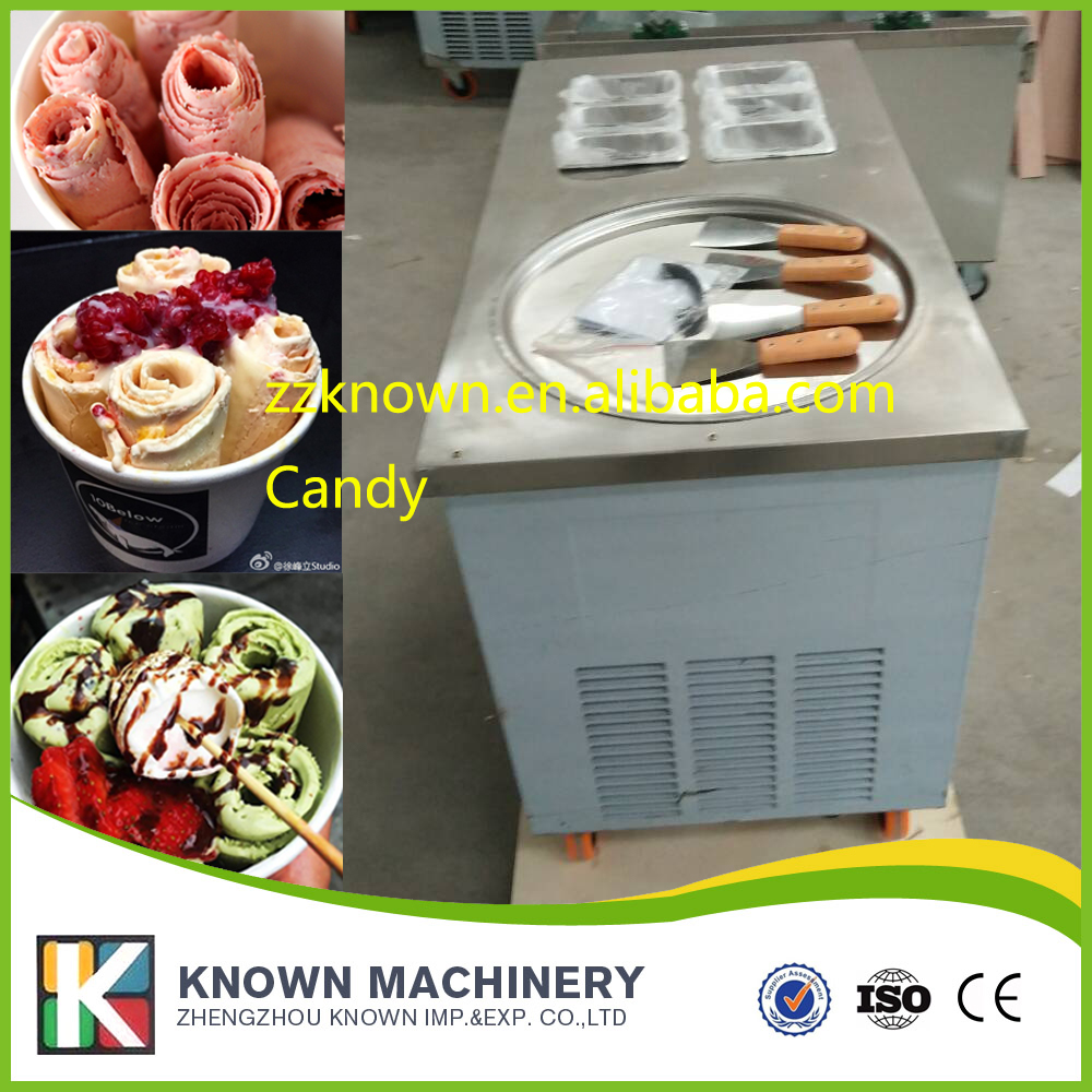 Thailand Fried Ice Machine 1200W Square pot Fried Ice Cream Maker with 6 pots Make Roll Ice Cream/Fried Yogurt free shiping fried ice cream machine 75 35cm big pan with 5 buckets fried ice machine r22 ice pan machine ice cream machine