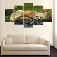 5 Pannelli di Arte Della Parete Pittura A Pelo di Volpe Rossa Foto Stampe Su Tela dipinti ad Olio Animale Per La Decorazione Domestica Senza Cornice