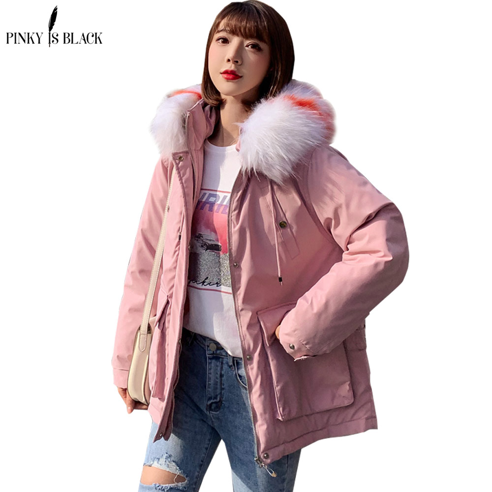 PinkyIsBlack 2019 New Solid Fashion Down Cotton-padded Jacket Coat Women Big Fur Hooded Warm Winter Jacket Women Short   Parkas