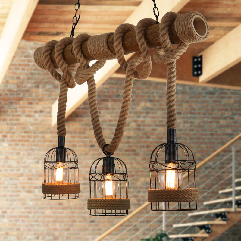 Loft Vintage Rural Pendant Lights Hemp Rope Bamboo Iron Cage Pendant Lamps Hand Knitted Lighting Fixtures Restaurant Dining room loft garden pendant lamps  bamboo