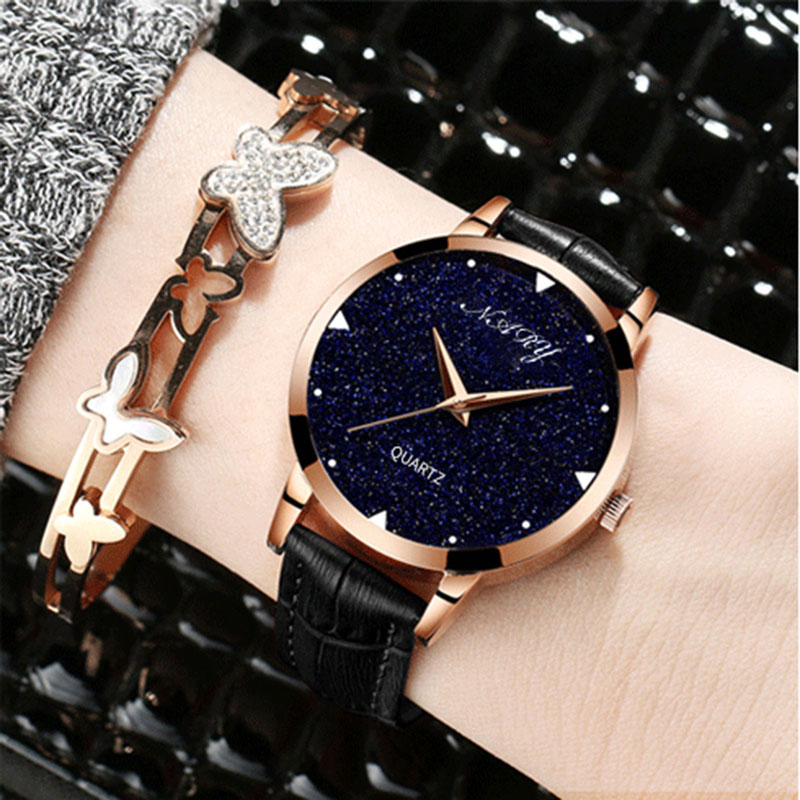 NARY Fashion Creative Star Dial Women Relojes Luxury Golden Leather - Relojes para mujeres