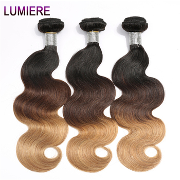 Ombre Brazilian Hair Bundles 1B/4/27 Non Remy Body Wave Weaving Natural Human Hair Weave Bundles 3PC Extension Lumiere Hair