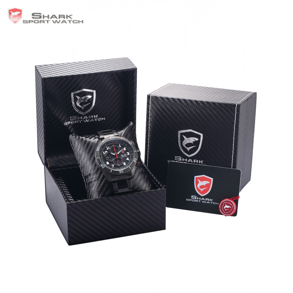 Luxury Leather Box Gummy Shark Sport Watch Mens Date Day Calendar Stopwatch Quartz Steel Waterproof Relogio Masculino /SH310-312