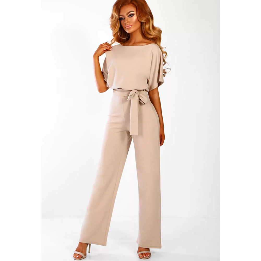 Elegant Long Jumpsuits Woman Long Pants O Neck Short Sleeve Plus Size Rompers High Waist Full Length Office Lady Dungarees