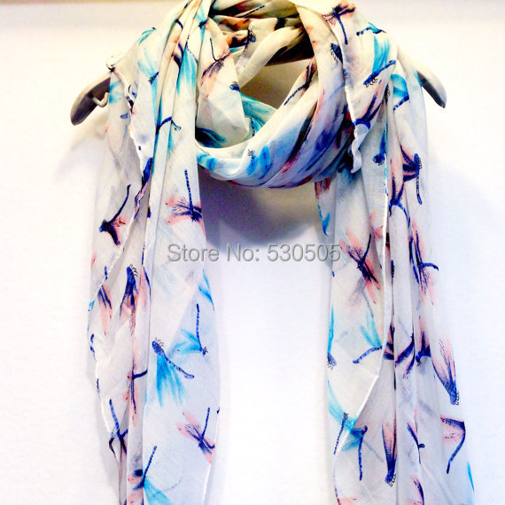 Dragonfly White Spring Scarf Summer Scarf Christmas Gift