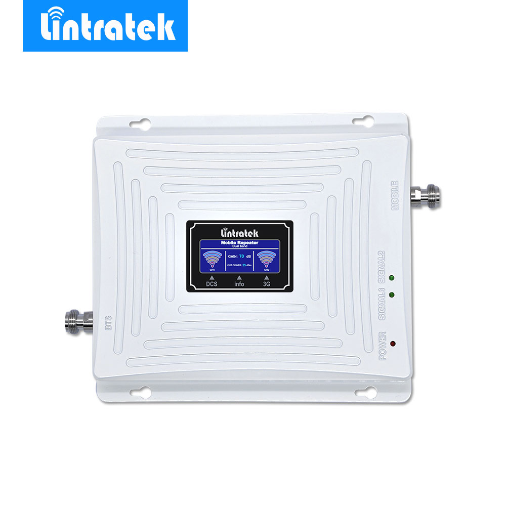 Lintratek LCD 3G 4G Signal Repeater Booster Amplifier 65dBi 2G GSM 1800MHz 3G 2100MHz 4G LTE 1800MHz for Mobile Cell Phones @