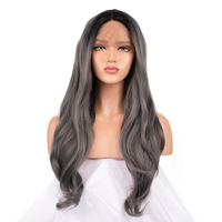 FANXITON Synthetic Lace Front Wig Grey Wigs For Black Women Synthetic Wigs Wavy Long Wigs For Black Women 24 130%