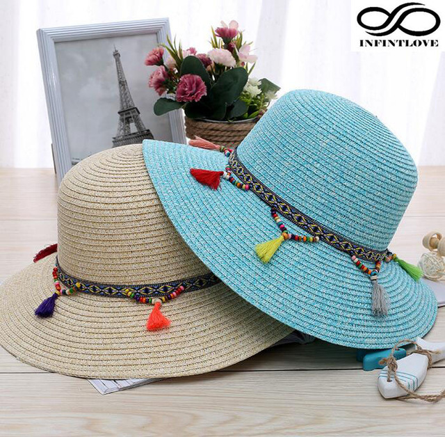 463e0674 LUCKYLIANJI Fashion Kid Child Summer Sun Holiday Vacation Foldable Straw  Wide Brim Floppy Cloche Hat with Tassel Beads Ribbon