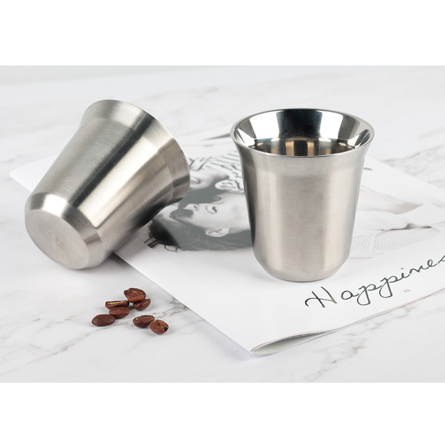 double wall espresso cups fancy recaps 170ml stainless steel espresso cups set pack double wall coffee