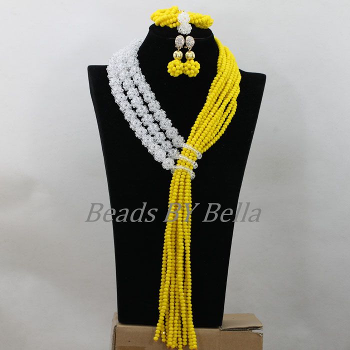 New Clear White Balls Necklace Set Nigerian Wedding African Jewelry Set Yellow Crystal Beads Bridal Jewelry Free Shipping ABF762 цена