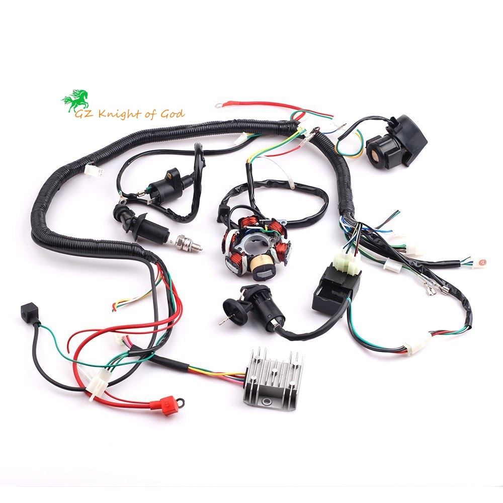 complete electrics wiring harness wire loom magneto stator for gy6 4 stroke engine type 125cc 150cc pit bike scooter atv quad in motorbike ingition from  [ 1000 x 1000 Pixel ]