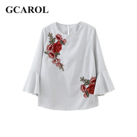 GCAROL 2017 Women Embroidery Floral Blouse Striped Shirt Flare Sleeve Design Shirt Early Spring Summer