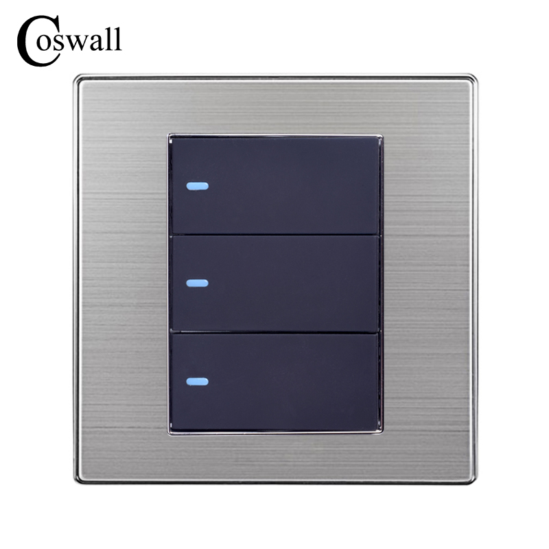 Coswall 3 Gang Reset Switch Electric Switch Momentary Contact Wall Switch Stainless Steel Panel