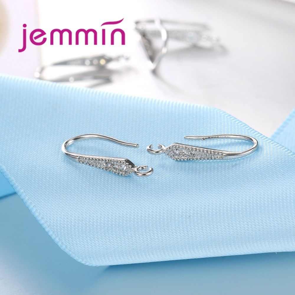 Fine 925 en argent Sterling goutte boucles d'oreilles résultats avec Micro strass clair prévenir l'allergie bricolage fabrication de bijoux accessoire