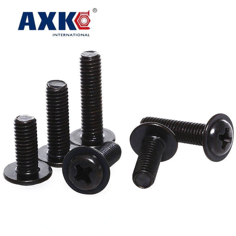 AXK 100PCS M4 PWM black zinc cross round head with pad screw black pan head with meson computer chassis screw in Screws from Home Improvement