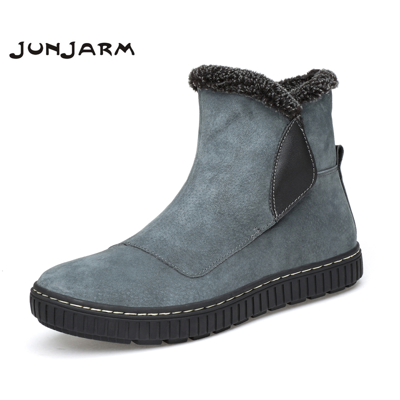JUNJARM 2018 Warm Plush Men Ankle Boots Luxury Brand Cow Suede Men Winter Boots Genuine Leather Boots Male Snow Boots Warm Fur zenvbnv winter leather men boots work casual boots men keep warm shoes male rubber snow cow suede leather ankle boots for men