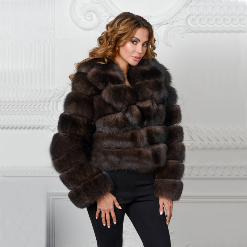 FURSARCAR Women's Winter Real Fox Fur Striped Sable Color Fashion Natural Real Fox Fur with Big Collar Fur Short Coat