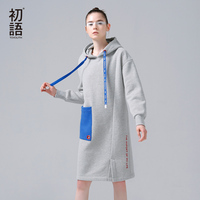 Toyouth Sweatshirt Women Autumn Winter Fleece Hoodies Cotton Contrast Color Pocket Long Sleeve Casual Dress