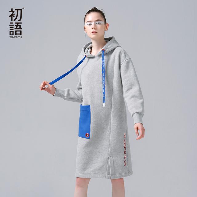 Toyouth moletom mulheres outono inverno hoodies do velo de algodão da cor do contraste bolso manga comprida vestido casual