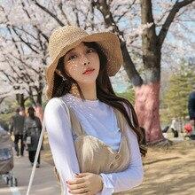 Korean version of the handmade straw-woven solid color hook straw hat summer big ah visor hat  wild casual fisherman hat female white straw fisherman sandals