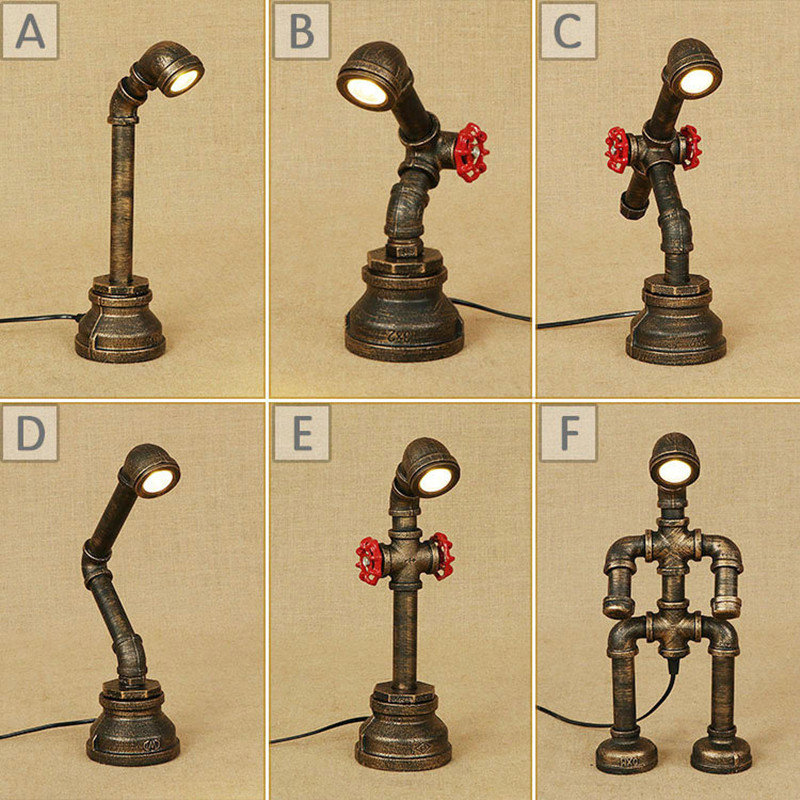 Novelty Industrial Retro Loft LED Water Pipe Table Lamp Vintage Iron Faucet Light Robot Desk Lamps for Home Bedside Decoration art deco industrial iron butterfly retro water pipe table lamp e27 desk lights reading lamps night light for living room bedroom