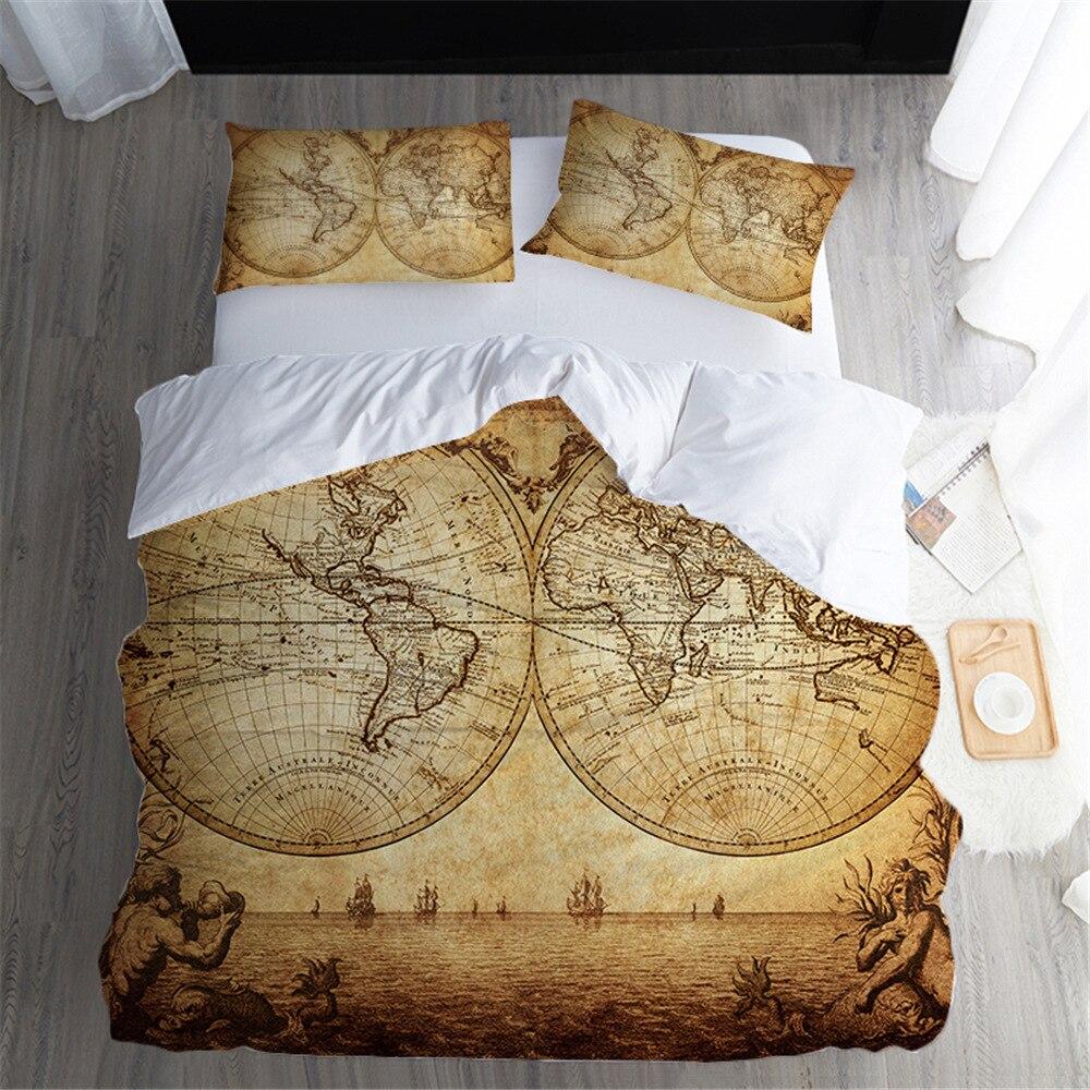 Vintage Bedding Set Luxury 3d Retro Map Duvet Cover King Queen Size Comforter Bedding Bedclothes Pillowcases Home Textiles 3Pcs