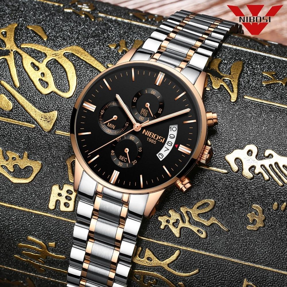 NIBOSI moda elegante hombres reloj Top marca de lujo relojes de oro rosa Relogio Masculino Acero inoxidable cuarzo reloj de pulsera para hombres