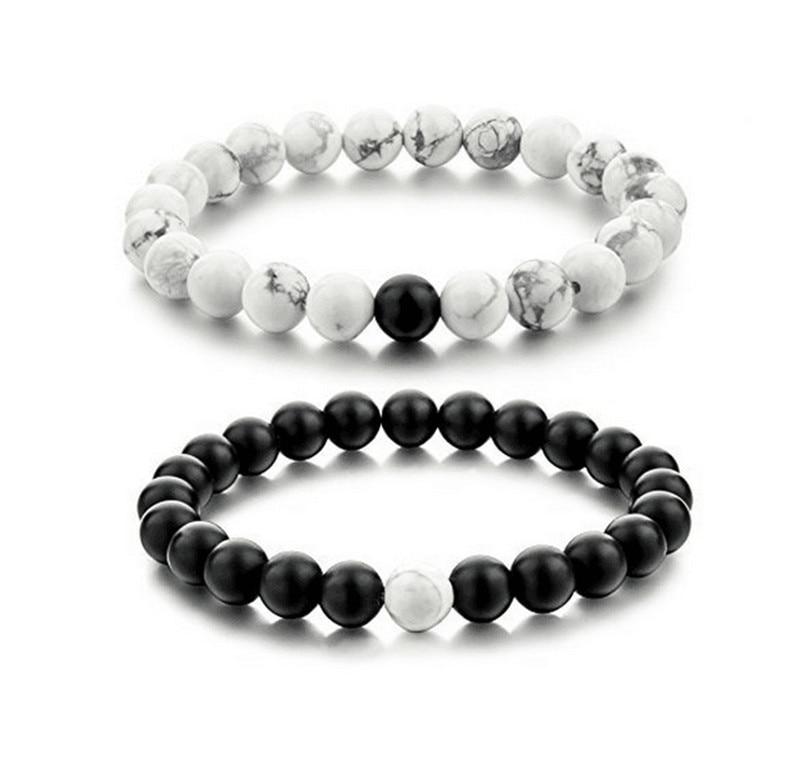 2Pcs set New Fashion White and Black Natural Stones Couple Bracelets In Charm Beads Lovers Bracelets