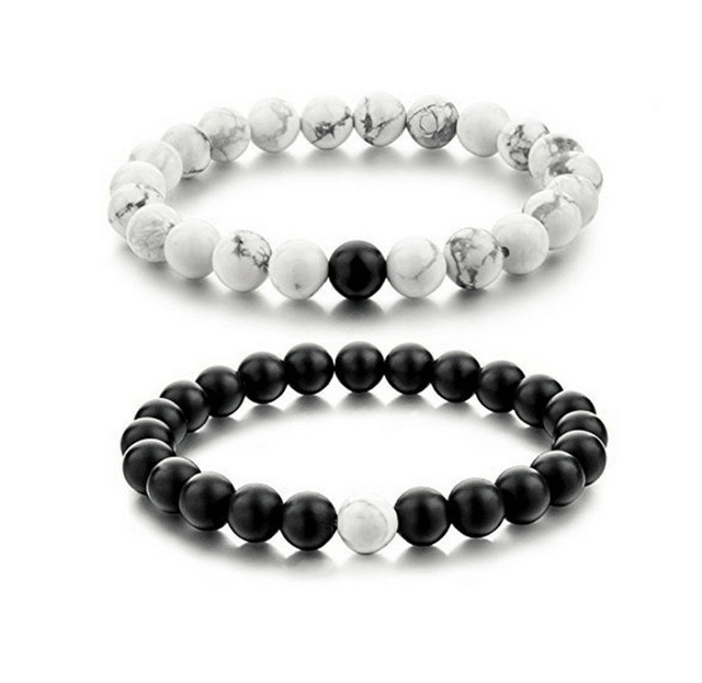 2Pcs/set New Fashion White and Black Natural Stones Couple Bracelets In Charm Be