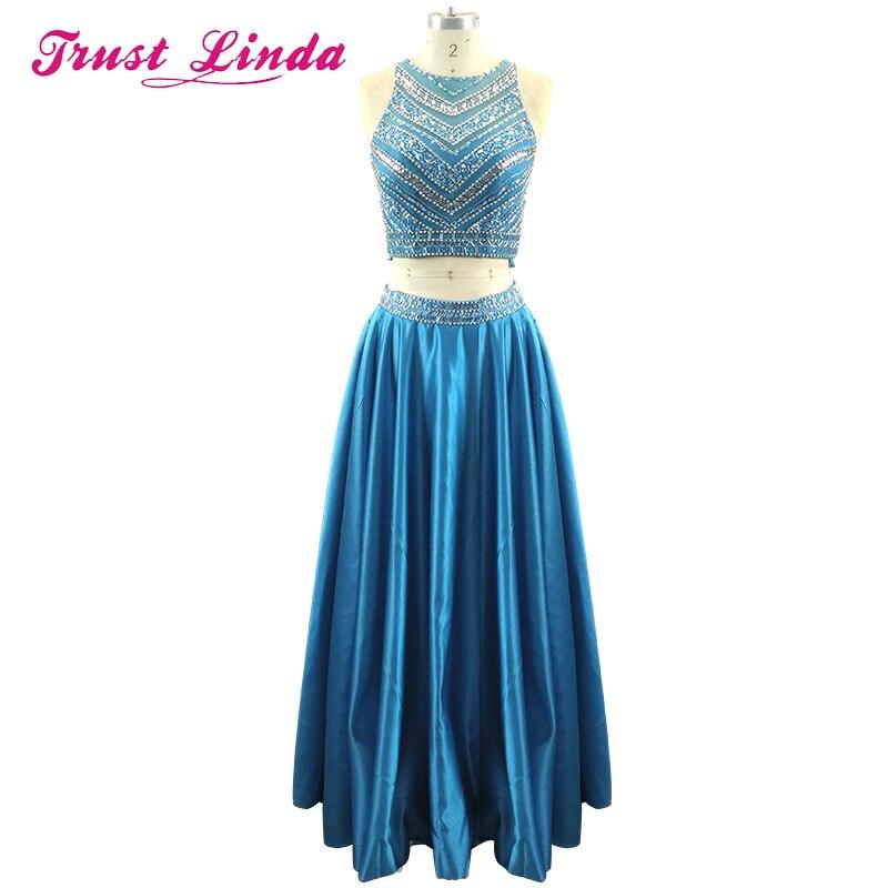 Perles de cristal deux pièces ensemble robe de bal longueur de plancher brillant bleu sarcelle longue robe pour la fête de mariage Graduation retour