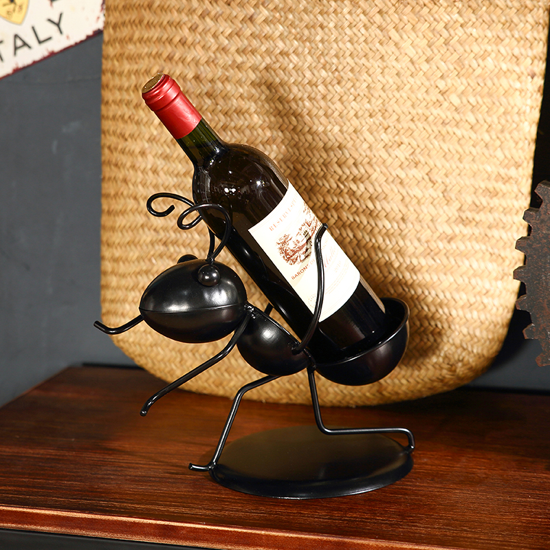 Wine Rack Iron Ant Shape Decoration Wine Display Rack Creative Bottle Rack Wire Crafts Christmas and Party Wine Support