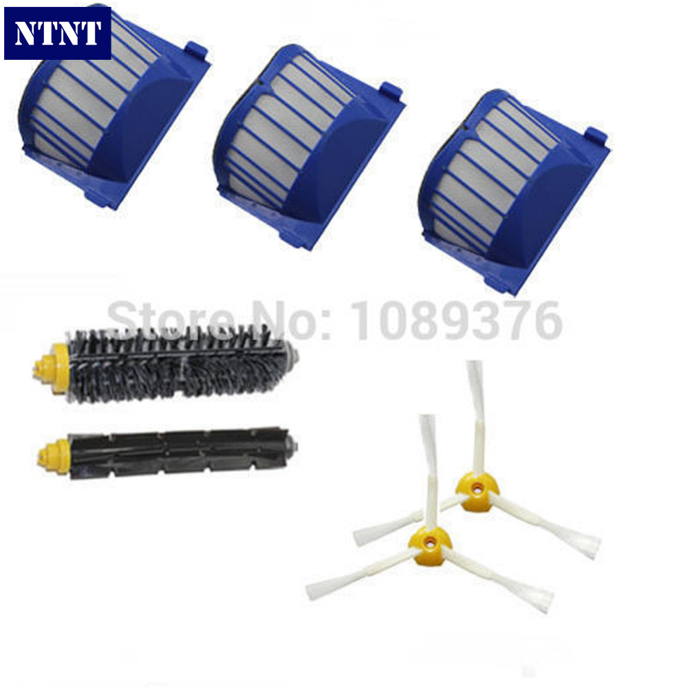 NTNT 2 Blue AeroVac Filter + 1 set main Brush kit +2 Side Brush for iRobot Roomba 600 Series 610 620 630 650 660 new ak88 carbon fiber mountain road bicycle crank crankshaft set