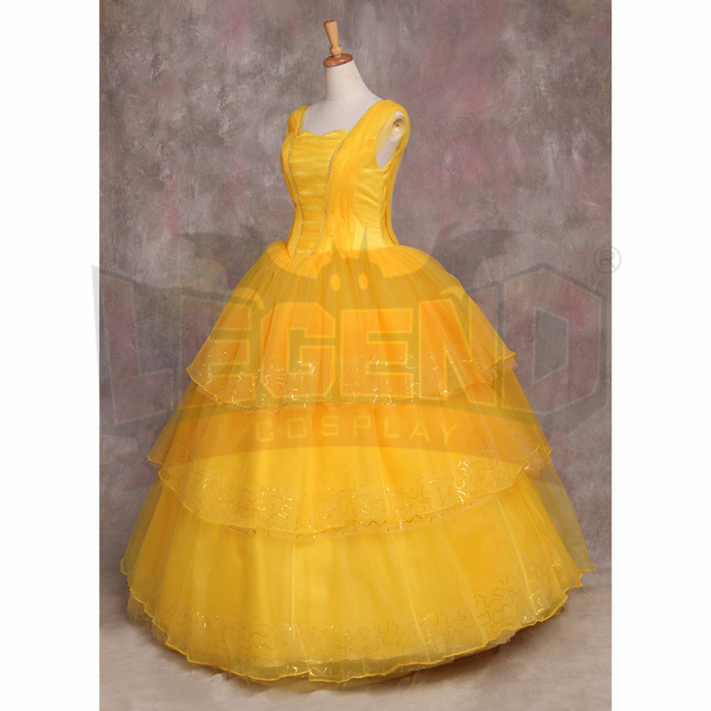 Movie Beauty and the Beast Cosplay Princess Belle Dress Yellow Party ...