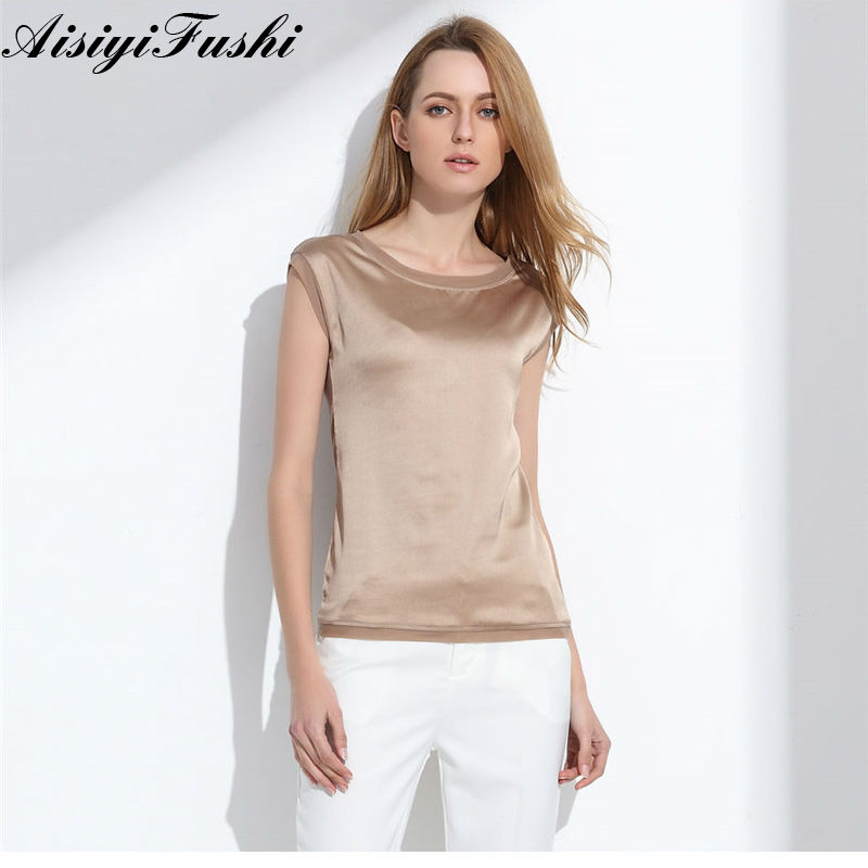Women's   Blouse   2019 Summer   Shirts   Casual OL Silk Women   Blouse     Shirt   Sexy White Red Tops Loose Sleeveless Work Wear 6 Color Blusa