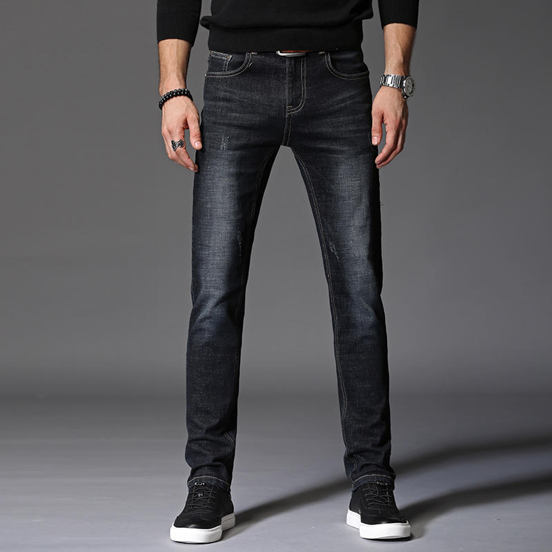 Slim Men Jeans Casual Denim Pants Classic Whiskering Straight Jeans Masculina Male Denim Trousers Cotton biker jeans men