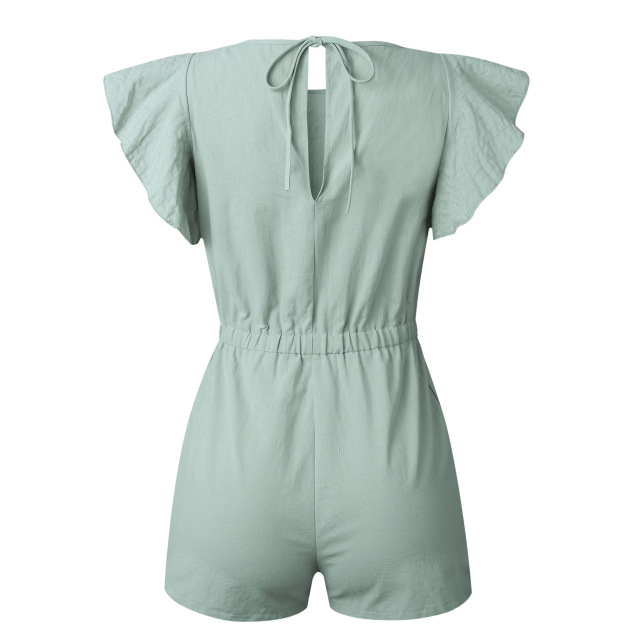 Nadafair Summer Playsuits Women Jumpsuit Short Cotton Linen Casual Ruffles Elastic Waist Sexy Rompers Overalls Mono Mujer 3