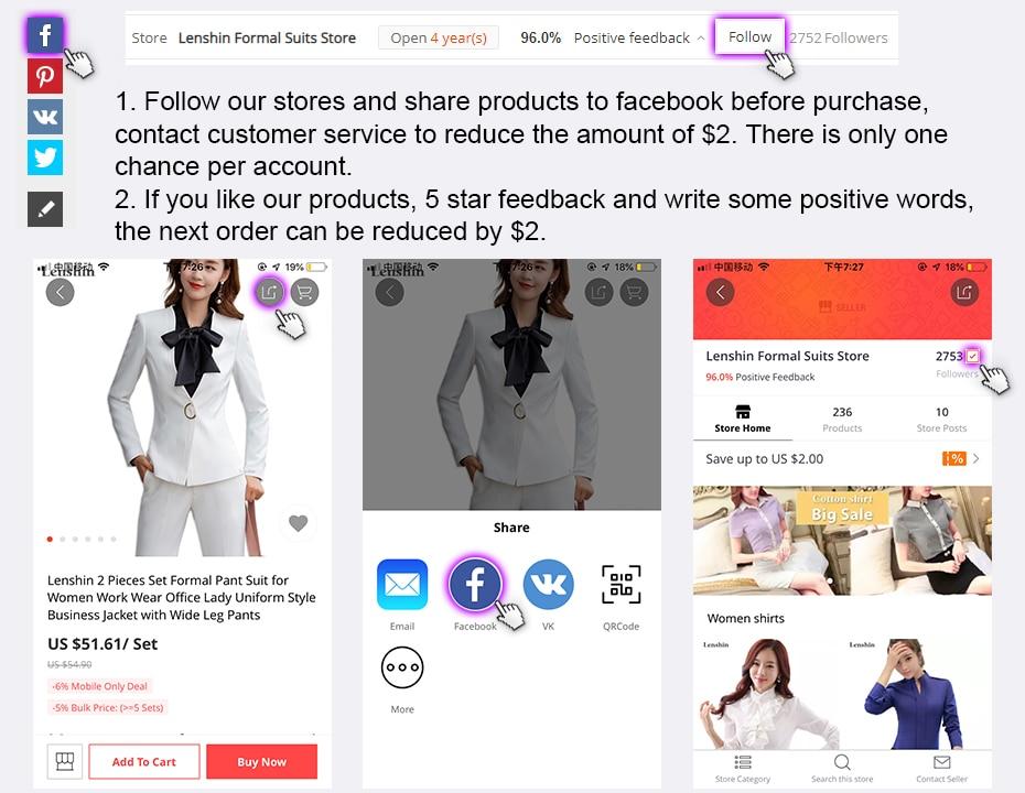 2f0f50468c0 Lenshin 2 piece Sets Pant Suit Formal Lady Office Uniform Designs ...