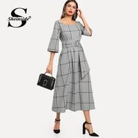 Sheinside Grey Plaid Cotton Straight Dress Women 2019 Spring Casual 3/4 Sleeve Longline Dress Ladies Elegant Belted Maxi Dresses