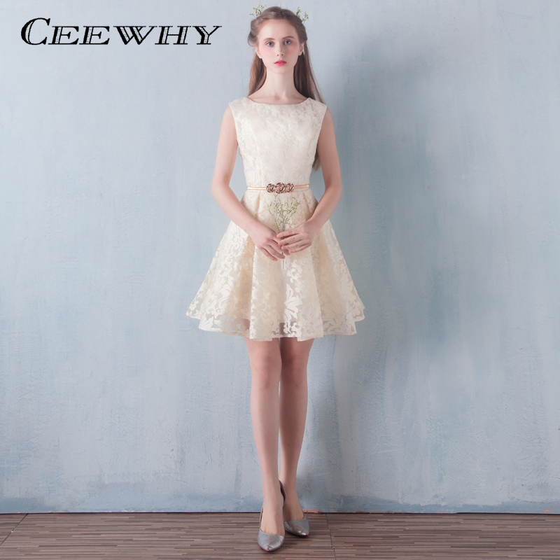 Champagne Lace Short Dress: CEEWHY Champagne Sleeveless Special Occasion Lace Short