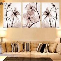 3 قطع الساخن بيع شفافة الزهور قماش اللوحة الحديثة غرفة المعيشة ديكور المنزل أو نوم طباعة جدارها صورة