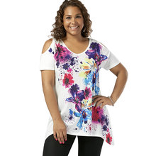 bce1913a1d59b Wipalo Women Summer Fashion Plus Size 5XL Cold Shoulder Splatter Paint T- Shirt Scoop Neck Short Sleeves Casual Ladies Tops Tees
